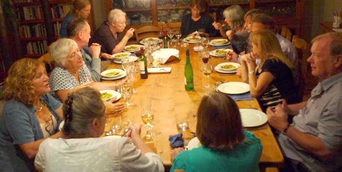 Evening supper with novelists and poet
